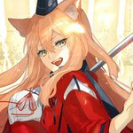 1girl animal_ear_fluff animal_ears blonde_hair breasts commentary_request fangs fate/extra fate/extra_ccc fate/extra_ccc_fox_tail fate_(series) fox_ears hat large_breasts long_hair looking_at_viewer nishikiya open_mouth red_ribbon ribbon smile solo suzuka_gozen_(fate) yellow_eyes