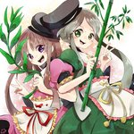 2girls :d apron bamboo bangs black_headwear brown_hair dress frilled_apron frilled_sleeves frills green_dress green_eyes green_hair hat holding locked_arms long_hair looking_at_viewer multiple_girls myouga_(plant) nishida_satono open_mouth pink_dress plant puffy_short_sleeves puffy_sleeves purple_eyes red_ribbon ribbon short_sleeves smile star tate_eboshi teeth teireida_mai touhou waist_apron white_apron yellow_ribbon yoshishi_(yosisitoho)