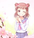 1girl ;d blush bow brown_hair cherry_blossoms cowgirl_position double_bun flat_chest flower gradient gradient_background greave_(asterism) grin hair_bow idolmaster idolmaster_cinderella_girls long_sleeves looking_at_viewer munakata_atsumi neckerchief one_eye_closed open_mouth own_hands_together pink_bow pink_flower pink_neckwear pleated_skirt purple_eyes purple_sailor_collar purple_skirt sailor_collar school_uniform serafuku shirt short_hair skirt smile solo spring_(season) standing standing_on_one_leg straddling tareme teeth tree_branch white_shirt yellow_background