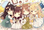 4girls :d ;3 ;t ^_^ animal_ear_fluff animal_ears black_sailor_collar blonde_hair blue_flower blush bow brown_bow brown_eyes brown_hair cat_ears chibi closed_eyes closed_mouth collared_shirt commentary_request doughnut dress drooling flower food frilled_dress frilled_pillow frills green_dress hair_bow hair_flower hair_ornament hairclip highres kemonomimi_mode kneehighs locked_arms long_hair long_sleeves lying mouth_drool multiple_girls on_back on_side open_mouth original parted_lips pillow polka_dot pout sailor_collar sailor_dress sakura_oriko shirt short_sleeves sleeveless sleeveless_dress smile star very_long_hair white_dress white_flower white_legwear white_shirt wide_sleeves