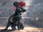 1girl belt_boots black_dress black_footwear black_gloves black_legwear boots colosseum convenient_leg copyright_name dress from_side full_body ghostblade gloves high_heel_boots high_heels highres one_knee realistic red_eyes red_hair sword thigh_boots thighhighs weapon wlop