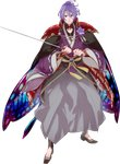 1boy armor blue_eyes cape flower full_body hakama highres homerun_ken japanese_armor japanese_clothes kasen_kanesada katana kiwame_(touken_ranbu) male_focus off_shoulder purple_hair sword touken_ranbu transparent_background weapon