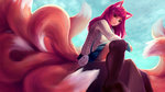 1girl absurdres academy_ahri ahri akuma_akatsukii animal_ears black_legwear blue_sky breasts cloud facial_mark foreshortening fox_ears fox_tail from_side full_body hair_ornament hairclip heart_hair_ornament highres huge_filesize league_of_legends long_hair long_sleeves looking_at_viewer looking_to_the_side miniskirt multiple_tails outdoors pleated_skirt red_hair school_uniform sitting skirt sky slit_pupils solo tail thighhighs whisker_markings yellow_eyes