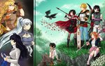 3boys 5girls animal_ears belt bird black_gloves black_hair blake_belladonna blonde_hair blue_eyes blue_pants boots breast_hold breastplate breasts bridal_gauntlets cape cat_ears cleavage_cutout crescent_rose crocea_mors_(rwby) cross-laced_footwear crossed_arms crow dark_skin dark_skinned_male dress fingerless_gloves gloves gradient_hair grass hammer insertsomthinawesome jaune_arc lace-up_boots lie_ren long_hair magnhild midriff multicolored_hair multiple_boys multiple_girls nora_valkyrie orange_hair oscar_pine over_shoulder pants pink_skirt profile purple_eyes purple_hair red_cape red_hair ruby_rose rwby scythe shading_eyes short_hair side_ponytail skirt smile streaked_hair suspenders sword thighhighs torn_clothes torn_thighhighs weapon weapon_over_shoulder weiss_schnee white_footwear white_pants yang_xiao_long yellow_eyes