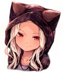 1girl absurdres animal_ears animal_hood blush cat_hood erun_(granblue_fantasy) granblue_fantasy highres hood long_hair looking_at_viewer red_eyes silver_hair simple_background skasaha_(granblue_fantasy) smile solo sukemyon white_background