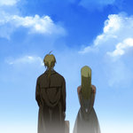 1boy 1girl arms_behind_back back_turned blonde_hair cloud cloudy_sky coat day dress edward_elric fullmetal_alchemist long_hair ponytail riru shadow sky suitcase winry_rockbell