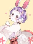 1girl animal_ears bangs blush bunny_ears copyright_request hanataro_(sruvhqkehy1zied) long_sleeves looking_at_viewer purple_hair red_eyes sash short_hair simple_background smile solo upper_body wide_sleeves yellow_background
