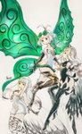 3girls aerie_(bravely_default) anne_(bravely_second) antenna_hair arms_behind_back bare_shoulders black_gloves black_legwear black_leotard boots bravely_default:_fairy's_effect bravely_default:_flying_fairy bravely_default_(series) bravely_second:_end_layer brown_eyes brown_legwear commentary_request dress elbow_gloves eyewear_on_head fairy fairy_wings glasses gloves green_eyes hand_on_own_chest high_heels highres ikusy leotard long_hair multiple_girls official_art pointy_ears rinne_(bravely_default) short_dress short_hair sketch strapless strapless_dress thigh_boots thigh_strap thighhighs white_dress white_hair wings