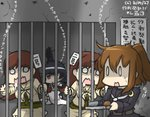 0_0 4girls black_hair black_serafuku bread brown_hair bug commentary_request crack crescent dated detached_sleeves drooling dual_persona food fumizuki_(kantai_collection) hachimaki hamu_koutarou headband holding_bars in_cell kantai_collection leg_hug long_hair multiple_girls nontraditional_miko o_o ooi_(kantai_collection) open_mouth ponytail prison_cell remodel_(kantai_collection) scared school_uniform serafuku shaded_face spider surprised sweat translated tray wavy_mouth yamashiro_(kantai_collection)