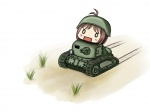 1girl ahoge bad_id bad_pixiv_id caterpillar_tracks chibi grass ground_vehicle helmet hidaka_ai idolmaster idolmaster_dearly_stars military military_vehicle motor_vehicle okigasa solo tank