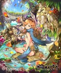 1girl armor barefoot blue_cape brown_hair bug butterfly cape coconut copyright_name crab drinking_straw food fruit fruit_cup granblue_fantasy grapes graphos grey_eyes headband insect midriff petals pond sara_(granblue_fantasy) shingeki_no_bahamut sitting starfish teddy_(khanshin) wristband