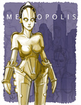 1girl android breasts cityscape copyright_name cyberpunk jonathan_kim maschinenmensch medium_breasts metropolis_(fritz_lang) no_humans robot science_fiction solo