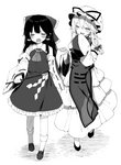 2girls ascot bad_id bad_pixiv_id bare_shoulders blush bow closed_eyes commentary_request detached_sleeves dress eyebrows_visible_through_hair facing_another frilled_shirt_collar frills gohei greyscale hair_between_eyes hair_bow hair_tubes hakurei_reimu hat hat_ribbon holding holding_hands juliet_sleeves layered_dress long_hair long_sleeves mob_cap monochrome multiple_girls open_mouth petticoat puffy_sleeves ribbon ribbon-trimmed_sleeves ribbon_trim sarashi shide shinoba shoes simple_background sleeves_past_fingers sleeves_past_wrists smile socks tabard touhou walking white_background wide_sleeves yakumo_yukari yuri