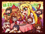 6+girls akizuki_ritsuko brush castle chibi clenched_teeth closed_eyes computer crown feeding food hagiwara_yukiho hair_brush happy_birthday hoshii_miki idolmaster kikuchi_makoto laptop minase_iori mizutani_eri multiple_girls one_eye_closed open_mouth otonashi_kotori princess riyo_(lyomsnpmp) sharp_teeth shijou_takane smile spoon tears windowboxed