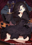 1girl black_dress black_hair black_veil blue_eyes candle carchet copyright_name covering_mouth dress ghost gothic_lolita halloween lolita_fashion looking_at_viewer official_art pumpkin see-through seiza short_hair sid_story sitting veil
