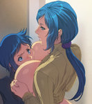1boy 1girl blue_hair breast_smother breasts clothes_lift eye_contact green_eyes gundam gundam_build_fighters highres homare_(fool's_art) incest iori_rinko iori_sei large_breasts lips long_hair looking_at_another low_ponytail milf mother_and_son nail_polish ponytail ribbed_sweater school_uniform shiny shiny_hair shiny_skin short_hair sweater sweater_lift turtleneck
