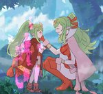 2girls aura boots breasts cape chiki cloak closed_eyes commentary_request crying crying_with_eyes_open dress fire_emblem fire_emblem:_kakusei fire_emblem:_monshou_no_nazo fire_emblem_heroes forest gloves green_hair hair_between_eyes hair_ornament hair_ribbon hand_on_another's_face holding hood hood_down hooded_cloak jewelry large_breasts long_hair looking_at_another mamkute multiple_girls nature older open_mouth parted_lips pink_cape pointy_ears ponytail red_cloak red_footwear red_gloves red_hair red_ribbon ribbon sasaki_(dkenpisss) short_dress smile stone tears tiara time_paradox younger