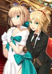 2girls :d absurdres ahoge aqua_bow artoria_pendragon_(all) besmiled black_jacket black_neckwear black_pants blonde_hair bow breasts choker cleavage collarbone diadem dress eyebrows_visible_through_hair fate/grand_order fate_(series) formal gloves green_eyes hair_between_eyes hair_ornament hair_scrunchie hands_on_another's_shoulder high_ponytail highres indoors jacket long_hair medium_breasts mordred_(fate) mordred_(fate)_(all) multiple_girls necktie open_clothes open_jacket open_mouth pants red_scrunchie saber scrunchie shirt smile white_dress white_gloves white_shirt