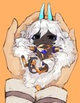 1boy arjuna_alter black_eyes blue_horns cat_tail chibi closed_mouth dark_skin dark_skinned_male fate/grand_order fate_(series) fluffy highres horns in_palms long_hair looking_at_viewer male_focus orange_background pants simple_background solo_focus surume_(su1193) tail very_long_hair white_hair white_pants