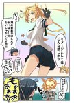 2girls abukuma_(kantai_collection) ahoge alternate_breast_size black_jacket blonde_hair comic commentary_request cosplay double_bun fingerless_gloves fusion gloves grey_sailor_collar hair_rings jacket kantai_collection long_hair multiple_girls neck_ribbon negahami ribbon sailor_collar school_uniform serafuku skirt speech_bubble translated ushio_(kantai_collection) ushio_(kantai_collection)_(cosplay) v