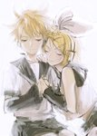 1boy 1girl arch-0 bare_arms bare_shoulders blonde_hair bow closed_eyes detached_sleeves hair_bow hair_ornament hairband hairclip half-closed_eyes hands_together happy head_rest headset kagamine_len kagamine_rin light_smile looking_down sailor_collar shirt short_hair shorts simple_background sitting smile upper_body vocaloid white_background white_hairband white_shirt