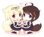 2girls :d ahoge black_serafuku blonde_hair blue_eyes blush braid brown_hair chibi commentary_request dog_tail hair_flaps hair_ornament hair_ribbon hairclip heart holding_hands kantai_collection long_hair multiple_girls neckerchief open_mouth red_eyes remodel_(kantai_collection) ribbon scarf school_uniform serafuku shigure_(kantai_collection) smile tail watanohara white_background yuudachi_(kantai_collection)