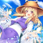 1girl blonde_hair blue_sky bright_pupils brown_hat day dutch_angle frog hair_ribbon hat long_hair long_sleeves looking_at_viewer miniskirt moriya_suwako open_mouth outdoors pink_eyes purple_skirt red_ribbon ribbon ribbon-trimmed_sleeves ribbon_trim skirt skirt_set sky smile solo splashing sukage touhou tress_ribbon water wide_sleeves