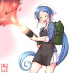1girl alternate_costume apron artist_logo black_apron blouse blue_blouse blue_hair commentary_request dated fire fish flame flamethrower gradient gradient_hair head_scarf highres holding kanon_(kurogane_knights) kantai_collection long_hair looking_at_viewer multicolored_hair open_mouth samidare_(kantai_collection) saury shirt signature simple_background smile solo very_long_hair weapon white_background white_shirt