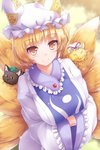1girl :3 animal animal_ear_fluff animal_ears animalization bangs black_cat black_eyes blurry blurry_background blush breasts brown_eyes cat chen chen_(cat) closed_eyes closed_mouth commentary dress earrings eyebrows_visible_through_hair fox_ears fox_girl frills green_hat hands_in_opposite_sleeves hat hat_ribbon highres jewelry large_breasts long_sleeves lzh mob_cap multiple_tails ofuda peeking_out pillow_hat red_ribbon ribbon shiny shiny_hair short_hair slit_pupils smile tabard tail touhou whiskers white_dress white_hat yakumo_ran yakumo_yukari yellow_eyes