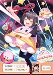 1girl :d ^_^ asymmetrical_wings black_dress black_hair black_legwear blush blush_stickers bow closed_eyes commentary_request copy_ability crossover dress health_bar houjuu_nue igakusei kirby kirby's_adventure kirby's_epic_yarn kirby:_planet_robobot kirby_(series) laser open_mouth pointing pointy_ears red_bow red_footwear shoes short_dress short_hair short_sleeves smile star thighhighs touhou ufo ufo_(kirby) wings