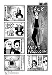 2koma 4boys 4koma afro bald belt bkub clenched_hands closed_eyes coat comic crawling dancing duckman emphasis_lines english facial_hair firing goho_mafia!_kajita-kun greyscale gun halftone hand_in_pocket hand_on_another's_shoulder holding holding_gun holding_weapon jack_westwood jacket jumping kneeling mafia_kajita monochrome multiple_boys musical_note mustache parted_lips pose shaded_face shirt short_hair shotgun shouting sideburns simple_background smile speech_bubble speed_lines sunglasses sweatdrop talking translation_request two-tone_background weapon