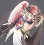 1girl alternate_costume balisong black_legwear braid cowboy_shot fan fingerless_gloves fire_emblem fire_emblem:_kakusei fire_emblem_heroes folding_fan foreshortening gloves grey_background hairband highres jewelry knife looking_at_viewer midriff navel o-ring_top olivia_(fire_emblem) one_eye_closed outstretched_arm pelvic_curtain pink_eyes pink_hair ponytail ring sash simple_background sketch sketchy smile solo thighhighs twin_braids