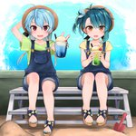 2girls absurdres ahoge alternate_costume bear bench blonde_hair blue_hair blue_ribbon blush bow brown_eyes cherry commentary_request denim denim_shorts drink fang fangs flat_chest flower food fruit fukae_(kantai_collection) gradient_hair hat highres holding ice_cream ice_cream_float kantai_collection long_hair looking_at_viewer multicolored_hair multiple_girls nail_polish open_mouth overall_shorts overalls red_eyes ribbon sado_(kantai_collection) sand sandals shirt short_hair short_sleeves shorts shovel sitting smile t-shirt yunamaro