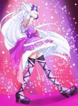 1girl bangs blunt_bangs closed_mouth cure_amour eyebrows_visible_through_hair gloves haruyama_kazunori hugtto!_precure index_finger_raised long_hair looking_at_viewer magical_girl precure purple_legwear purple_skirt ruru_amour skirt smile solo sparkle standing thighhighs white_gloves white_hair