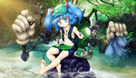 1girl aqua_eyes backpack bag balancing bare_shoulders barefoot battery blue_eyes blue_hair blush branch breasts can cattail clothes_removed collarbone cucumber draw-till-death extra_arms flashlight food forest fruit gloves hair_bobbles hair_ornament jewelry kawashiro_nitori key key_necklace lake leaf mechanic mechanical mechanical_arms midriff mirror motherboard mouth_hold nature navel plant plate pond rock screw screwdriver serious shirt_removed short_hair short_shorts shorts sitting sitting_on_rock soda soles solo touhou tree tree_branch tsurime twintails vegetable water white_gloves wrench