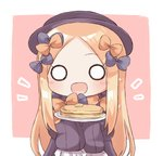 1girl :d abigail_williams_(fate/grand_order) bangs black_bow black_dress black_hat blonde_hair blue_eyes blush bow brown_background chibi commentary dress eyebrows_visible_through_hair fate/grand_order fate_(series) food forehead hair_bow hands_up hat hikkii holding holding_plate long_hair long_sleeves looking_at_viewer o_o open_mouth orange_bow pancake parted_bangs plate polka_dot polka_dot_bow sleeves_past_fingers sleeves_past_wrists smile solo stack_of_pancakes two-tone_background upper_body very_long_hair white_background