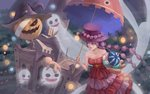 1girl :o absurdres alternate_costume alternate_hairstyle bare_shoulders braid castle commentary dress flower flying ghost halloween hat hat_flower highres holding holding_umbrella jack-o'-lantern long_braid long_hair one_piece perona pink_dress pink_eyes pink_flower pink_hair pink_headwear pink_rose roka_(rxhj5225) rose side_braid solo strapless strapless_dress twin_braids umbrella witch_hat