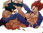 2boys abs absurdres arms_behind_back arms_tied bara blood blood_on_face boots brown_eyes brown_hair bruise couple dragon_ball dragon_ball_z gloves hand_on_another's_stomach head_out_of_frame highres injury kneeling knees_on_chest leg_grab leg_lock legs_up looking_at_another lying male multiple_boys muscle nipples on_back pants skin_tight smile son_gokuu spiked_hair supobi torn_clothes torn_pants torn_shirt vegeta white_background yaoi