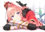 1boy :3 astolfo_(fate) bangs black_bow bow braid cape closed_mouth commentary_request crossed_arms crown eyebrows_visible_through_hair fang fate/grand_order fate_(series) fur-trimmed_cape fur_trim gauntlets hair_bow hair_intakes head_rest highres indoors leaning_forward long_hair looking_at_viewer male_focus nanotaro otoko_no_ko pink_hair plant purple_eyes red_cape single_braid sitting skin_fang solo window