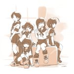 5girls ahoge bangs blunt_bangs box braid commentary_request fang fubuki_(kantai_collection) hair_over_shoulder hatsuyuki_(kantai_collection) ikazuchi_(kantai_collection) kantai_collection long_hair looking_at_viewer low_twintails monochrome multiple_girls open_mouth pleated_skirt sepia shigure_(kantai_collection) shirayuki_(kantai_collection) short_hair sitting skirt smile standing tewarusa thighhighs twintails v waving window