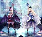 2girls angel_and_devil angel_wings arm_up armpits artist_name bangs bare_shoulders black_boots black_cape black_collar black_gloves black_hairband black_hat black_legwear black_ribbon black_wings blonde_hair blue_dress blue_eyes blue_hairband blue_ribbon blue_scrunchie blurry boots breasts brown_boots cape cleavage closed_mouth collar collarbone colored_eyelashes cross dated demon_wings depth_of_field dress earrings fangs fingerless_gloves floating_hair full_body gloves green_eyes hair_between_eyes hair_ribbon hairband hand_on_own_chest hat headset heterochromia highres idol index_finger_raised inverted_cross jewelry knee_boots latin_cross long_hair looking_at_viewer low_wings matching_outfit mini_hat mini_top_hat mismatched_footwear mr.tight multiple_girls original pale_skin pink_boots pointy_ears purple_eyes purple_hair red_eyes red_hat red_ribbon red_scrunchie ribbon scrunchie shiny shiny_hair short_dress skull smile stage stairs standing strapless strapless_dress stud_earrings thighhighs top_hat twintails waist_cape white_cape white_dress white_legwear white_wings wings wrist_scrunchie
