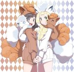 2girls :d alolan_form alolan_vulpix argyle argyle_background black_hair blonde_hair blue_eyes braid brown_hoodie closed_mouth cosplay cowboy_shot eyebrows eyelashes facing_another from_side furrowed_eyebrows gen_1_pokemon gen_7_pokemon green_eyes hand_on_another's_back highres holding_hands hood hood_up hoodie interlocked_fingers lillie_(pokemon) long_hair long_sleeves looking_at_viewer midoko mizuki_(pokemon) multiple_girls open_mouth pocket pokemon pokemon_(creature) pokemon_(game) pokemon_on_shoulder pokemon_sm short_hair smile standing teeth tongue twin_braids vulpix vulpix_(cosplay) white_hoodie