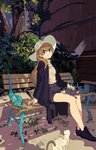 1girl bench bush cat commentary_request forest hat highres jacket kogecha_(coge_ch) leaf nature original shoes shorts sitting sitting_on_lap sitting_on_person solo wooden_wall