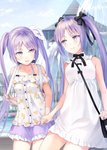 2girls bag bare_shoulders black_neckwear black_ribbon cloud commentary_request day dress euryale eye_contact fate/grand_order fate_(series) fountain hair_ribbon handbag highres holding_hand long_hair looking_at_another multiple_girls nanotaro neck_ribbon outdoors pixiv_fate/grand_order_contest_2 purple_eyes purple_hair purple_skirt ribbon shirt short_dress short_sleeves siblings sisters skirt smile stheno twintails very_long_hair white_dress white_ribbon