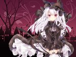 1girl :< animal_hat azur_lane bag bangs bare_tree black_bow black_capelet black_hat black_neckwear black_ribbon black_shirt black_skirt blush bow bowtie building capelet cat_hat closed_mouth commentary_request corset cross cross_necklace cross_print erebus_(azur_lane) eyebrows_visible_through_hair frilled_hat frilled_sleeves frills fur-trimmed_capelet fur_trim hair_between_eyes handbag hat holding_bag jewelry kurun_(kurun777) latin_cross long_hair long_sleeves looking_at_viewer necklace pleated_skirt print_skirt puffy_long_sleeves puffy_sleeves red_eyes red_sky ribbon shirt silhouette skirt sky solo thighhighs tower tree v_arms white_hair