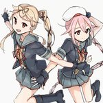 2girls beret black_footwear black_gloves black_jacket blonde_hair commentary_request cosplay cowboy_shot gloves grey_sailor_collar grey_skirt hair_flaps hair_ribbon hand_on_headwear harusame_(kantai_collection) hat holding holding_hat jacket kantai_collection long_hair mikiki multiple_girls neck_ribbon outstretched_arms partly_fingerless_gloves pink_hair ponytail red_ribbon remodel_(kantai_collection) ribbon sailor_collar school_uniform serafuku simple_background skirt standing standing_on_one_leg very_long_hair white_background white_hat yura_(kantai_collection) yura_(kantai_collection)_(cosplay) yuudachi_(kantai_collection)