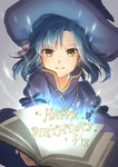 1girl blue_hair book closed_mouth happy happy_birthday hat hirose_yuki idolmaster idolmaster_million_live! idolmaster_million_live!_theater_days looking_at_viewer nanao_yuriko open_book short_hair smile solo witch_hat yellow_eyes