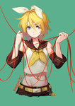 1girl belt black_shorts blonde_hair blue_eyes curry_bowl detached_sleeves green_background groin hair_between_eyes hair_ornament hair_ribbon hairclip kagamine_rin midriff navel number red_ribbon ribbon shirt short_hair shorts signature simple_background sleeveless sleeveless_shirt solo stomach tattoo treble_clef vocaloid white_ribbon white_shirt