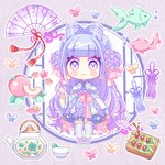 1girl :3 animal blue_dress blue_eyes blue_flower blue_hair blush_stickers bubble bug butterfly chibi closed_mouth cup dango dress fish floral_print flower food fruit gradient_hair hair_flower hair_ornament ie_(nyj1815) insect long_sleeves multicolored_hair original pinching_sleeves print_dress purple_eyes purple_flower purple_hair sleeves_past_wrists solo standing tassel teacup teapot wagashi wide_sleeves