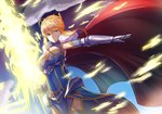 1girl absurdres ahoge armor armored_dress artoria_pendragon_(all) artoria_pendragon_(lancer) blonde_hair blue_gloves breasts cape cleavage cow-ring crown dress elbow_gloves energy fate/grand_order fate_(series) fur_trim gloves glowing glowing_weapon green_eyes highres holding holding_weapon lance large_breasts looking_at_viewer mature outdoors polearm red_cape rhongomyniad shoulder_armor solo weapon